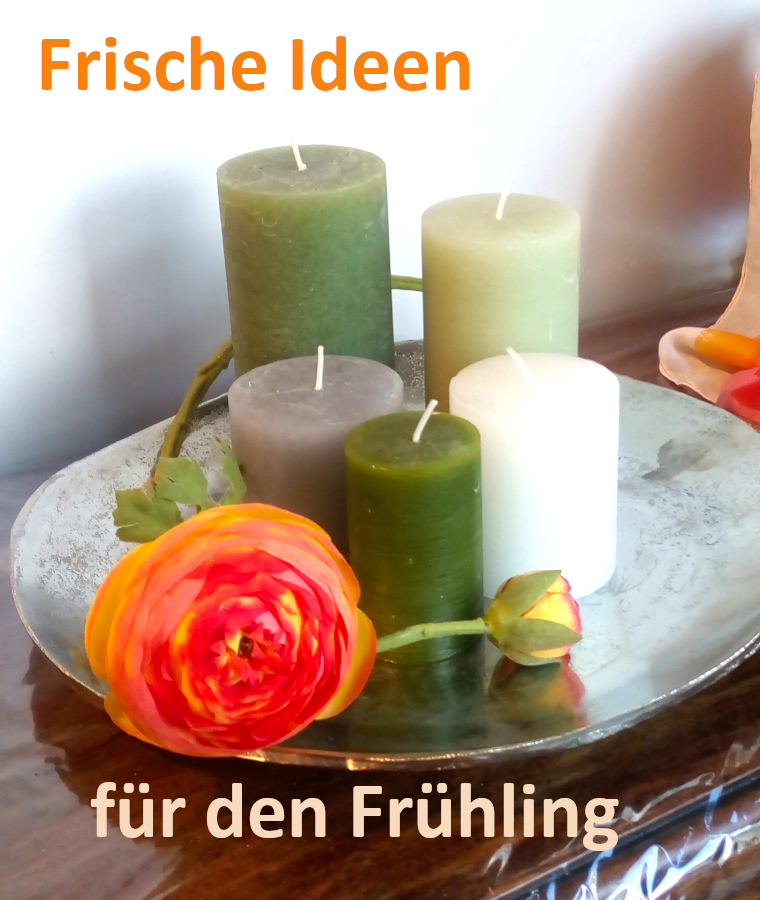 Frühling Kerzen Silberteller Blumen Dekoration