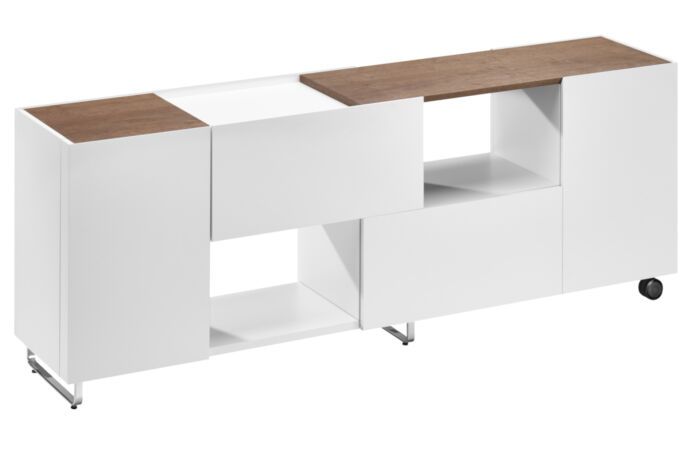 Bacher Sideboards Anrichten Kommoden Holz Glas Metall Rollen