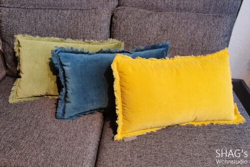 SHAGs Wohnstudio München Decken Wohnen Geschenkartikel ClickandCollect CallandCollect Kissen Fransen rechteckig grün petrol gelb