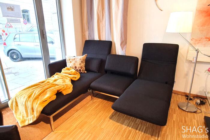 Ausstellungs-Angebot SHAGs Wohnstudio München brühl roro small Eckgruppe Drehsitze Longchair abklappbare Rückenlehnen Schlafen Relax Stoffbezug